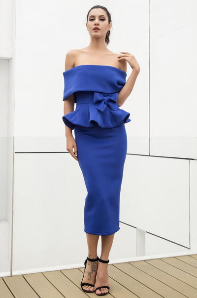 Hope Blue Peplum Bardot Top & Midi Skirt Co-Ord - Fashion Genie Boutique USA Alt