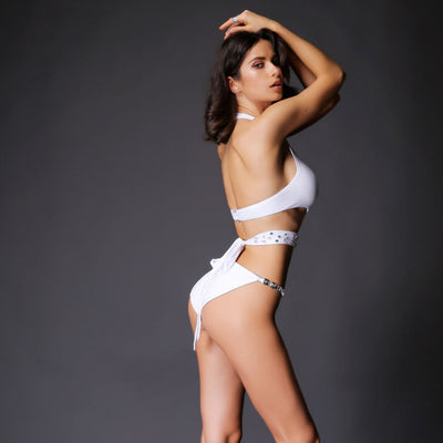 Halki White Crystal Embellished Monokini Swimsuit - Fashion Genie Boutique USA Alt