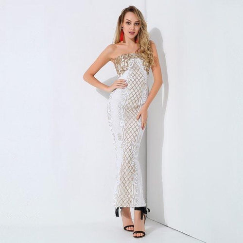 A Long Affair White & Gold Sequin Stapless Maxi Dress - Fashion Genie Boutique