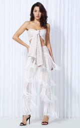 Carla Two Piece Fringed Trousers & Crop Top