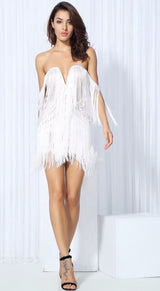 Dress for Success White Bardot Fringed Mini Dress