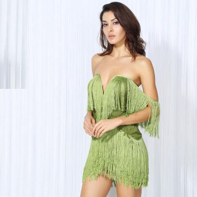 Dress for Success Green Bardot Fringed Mini Dress