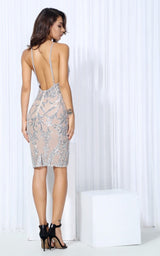 High Life Embroidered Silver & Nude Dress