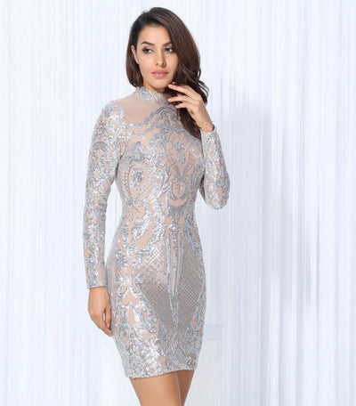 Unpredictable Moments Silver Long Sleeve Sequin Mini Dress.jpg