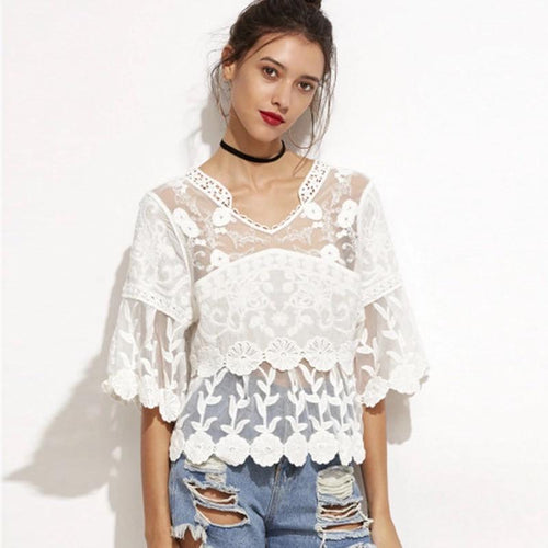 Geri Lace Embroidered Lace Top - Fashion Genie Boutique