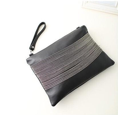 Black Chained Zipper Clutch Bag - Fashion Genie Boutique USA Alt
