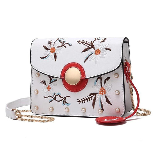 Floral Embroidered Crossbody Chain Handbag - Fashion Genie Boutique USA Alt