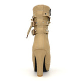 Lady Tan Beige Studded Lace-up Round Toe Women's Ankle Boots - Fashion Genie Boutique USA Alt