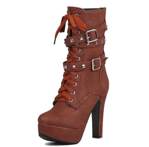 Lady Tan Brown Studded Lace-up Round Toe Women's Ankle Boots - Fashion Genie Boutique USA Alt