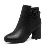 Outta Town Black Block Heel Ankle Boots - Fashion Genie Boutique USA Alt