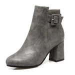 Outta Town Grey Block Heel Ankle Boots - Fashion Genie Boutique USA Alt