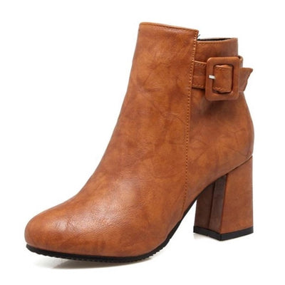 Outta Town Brown Block Heel Ankle Boots - Fashion Genie Boutique USA Alt