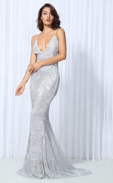 Goal Digger Silver Embellished Sequin Maxi Dress - Fashion Genie Boutique