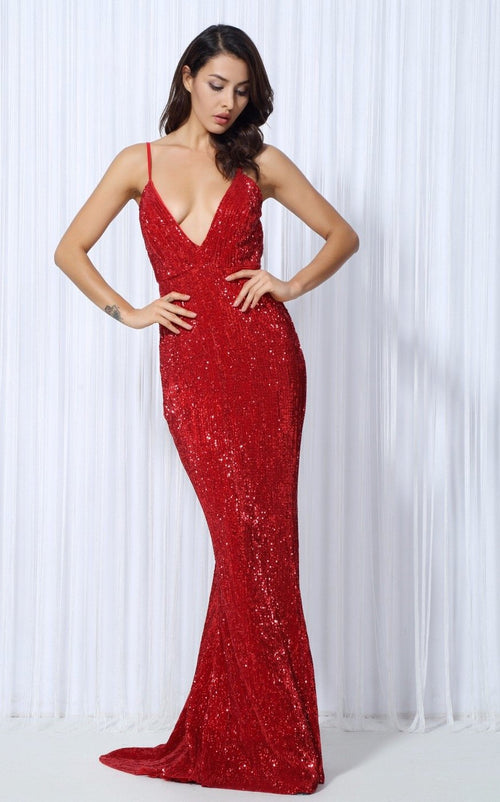 00b8341a195 Goal Digger Red Embellished Sequin Maxi Party Gown Dress - Fashion Genie  Boutique