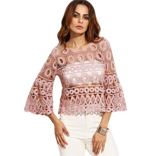 Bell Me Pink Crochet Flare Sleeve Top - Fashion Genie Boutique USA Alt