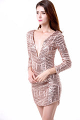Romance in the City Rose Gold Geometric Sequined Long Sleeved Dress - Fashion Genie Boutique USA Alt
