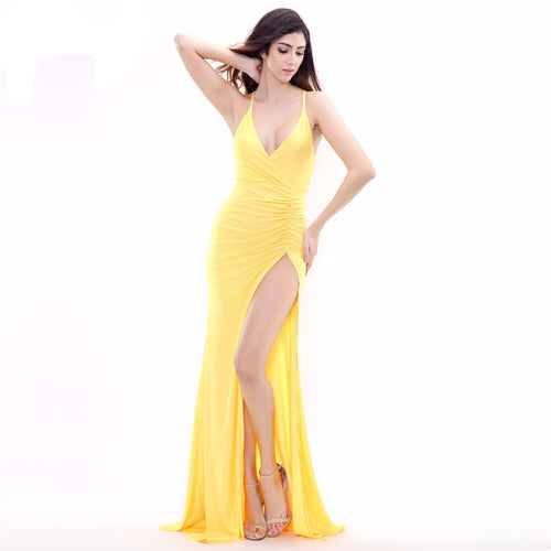 Tropicool Yellow Spilt Maxi Dress - Fashion Genie Boutique USA Alt