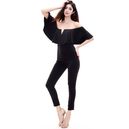 On Frill Alert Black Frill Bardot Jumpsuit - Fashion Genie Boutique USA Alt
