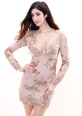 No Surprises Rose Gold Long Sleeved Sequin Mini Dress - Fashion Genie Boutique USA Alt