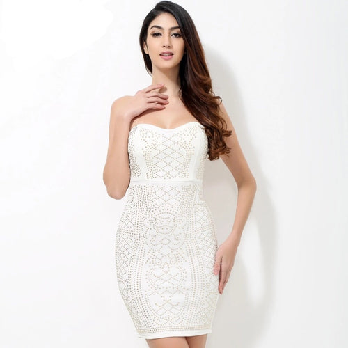 Model Behaviour White Gold Strapless Mini Dress - Fashion Genie Boutique USA Alt