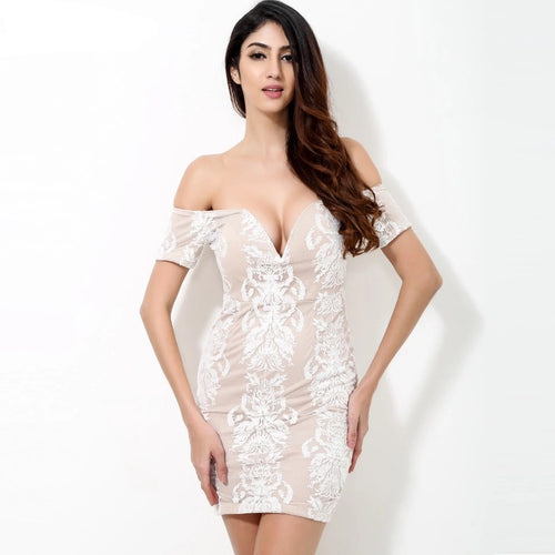 Born To Love White And Nude Lace Embroidered Bardot Mini Dress - Fashion Genie Boutique USA Alt