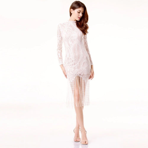 Sweet Like Honey White Long Sleeved Fringed Hem Mini Dress - Fashion Genie Boutique USA Alt