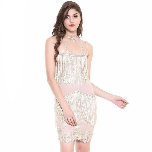 Hailie Gold & Nude Fringe Panel Mini Dress - Fashion Genie Boutique USA Alt