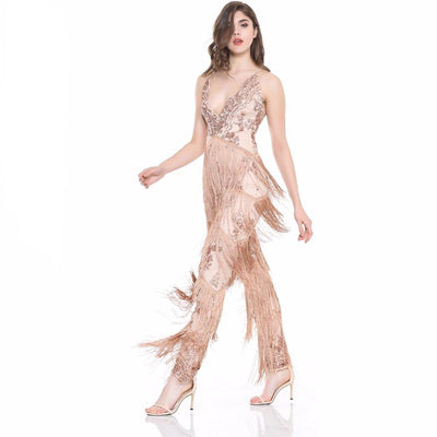 69bcecb7703 Gold Beauty Sequin Tassel Fringed Jumpsuit - Fashion Genie Boutique USA Alt