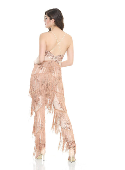 Gold Beauty Sequin Tassel Fringed Jumpsuit - Fashion Genie Boutique USA Alt
