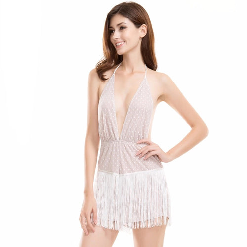 Dance With Me White Polka Dot Fringed Playsuit Romper - Fashion Genie Boutique USA Alt