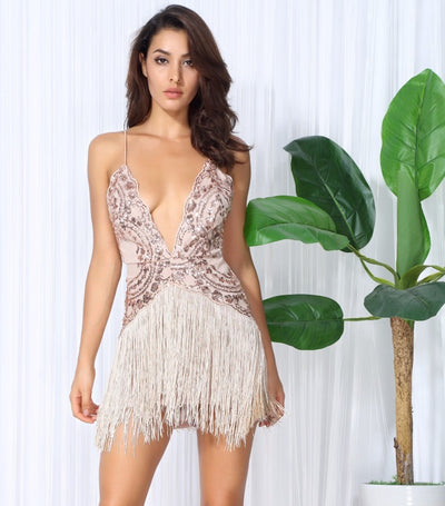 Party Guru Rose Gold Sequin Fringed Mini Party Dress - Fashion Genie Boutique USA Alt