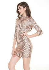 Midnight Wishes Rose Gold Sequin Long Sleeve Mini Party Dress - Fashion Genie Boutique USA Alt