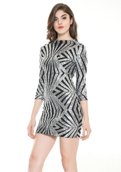 Midnight Wishes Silver & Black Sequin Long Sleeve Mini Party Dress - Fashion Genie Boutique USA Alt