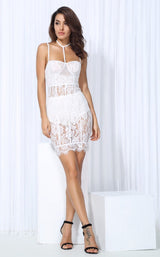 French Fancy White Sheer Lace Mini Dress - Fashion Genie Boutique USA Alt