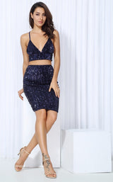 Strut And Slay Navy Two Piece Glitter Mini Dress - Fashion Genie Boutique USA Alt