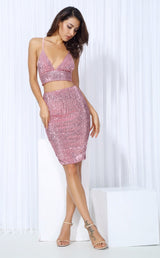 Strut And Slay Pink Sequin Crop Top & Mini Skirt Co-Ord - Fashion Genie Boutique USA Alt