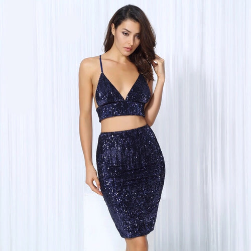 Strut And Slay Navy Sequin Crop Top & Mini Skirt Co-Ord - Fashion Genie Boutique USA Alt