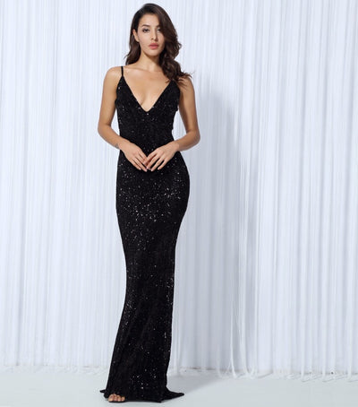 Goal Digger Black Embellished Sequin Maxi Party Gown Dress - Fashion Genie Boutique USA Alt
