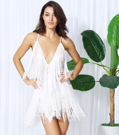Secret Desire White Lace Fringed Party Dress - Fashion Genie Boutique USA Alt