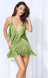 Secret Desire Green Lace Fringed Party Dress - Fashion Genie Boutique USA Alt