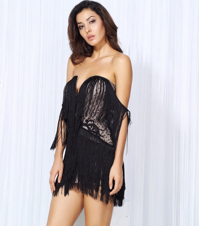 Dress for Success Black Bardot Fringed Mini Party Dress - Fashion Genie Boutique USA Alt