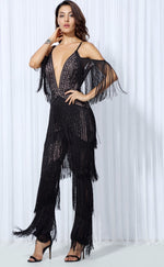 Lasting Impressions Black Deep Plunge Tassel Fringed Jumpsuit - Fashion Genie Boutique USA Alt