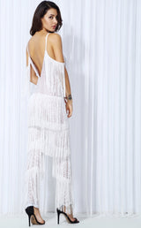 Lasting Impressions White Deep Plunge Tassel Fringed Jumpsuit - Fashion Genie Boutique USA Alt