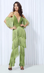 Lasting Impressions Green Deep Plunge Tassel Fringed Jumpsuit - Fashion Genie Boutique USA Alt