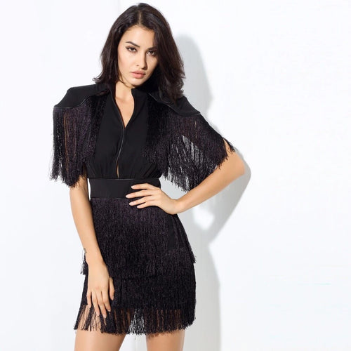 Simple Things Black Fringed Shoulder Mini Dress - Fashion Genie Boutique USA Alt
