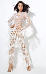 Confessions White Long Sleeved Tassel Fringed Jumpsuit - Fashion Genie Boutique USA Alt