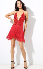 Party Guru Red Sequin Fringed Mini Party Dress - Fashion Genie Boutique USA Alt