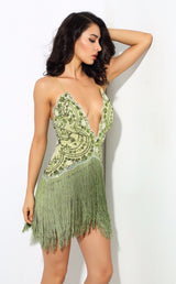 Party Guru Green Sequin Fringed Mini Party Dress - Fashion Genie Boutique USA Alt