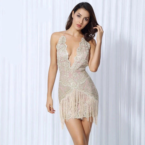 Sparkle & Shine Gold Lace Fringed Mini Dress - Fashion Genie Boutique USA Alt