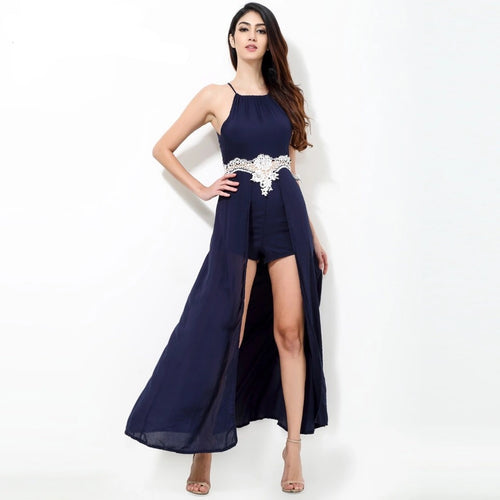 California Dreaming Navy Maxi Skirt Romper - Fashion Genie Boutique USA Alt